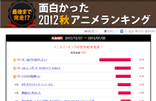 【結果発表】2012秋アニメ満足度ランキング、「中二病」が前評判以上のデキでダントツ1位! 2番手は安定の「ヨルムンガンド」2期